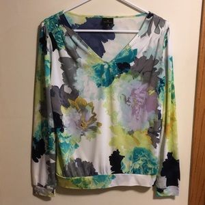 Worthington watercolor floral long sleeve top